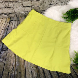 J. Crew Neon Yellow Fluted Mini Skirt Short Zip